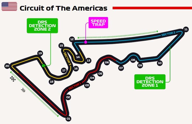 Grand Prix Verenigde Staten 2018 circuit